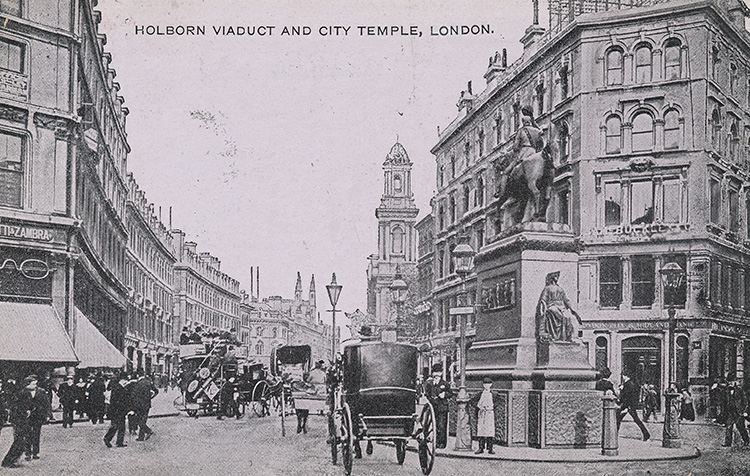 Holborn viaduct and City Temple, 1907