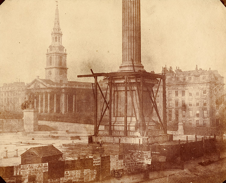 Nelson's Column under construction in Trafalgar Square, 1844