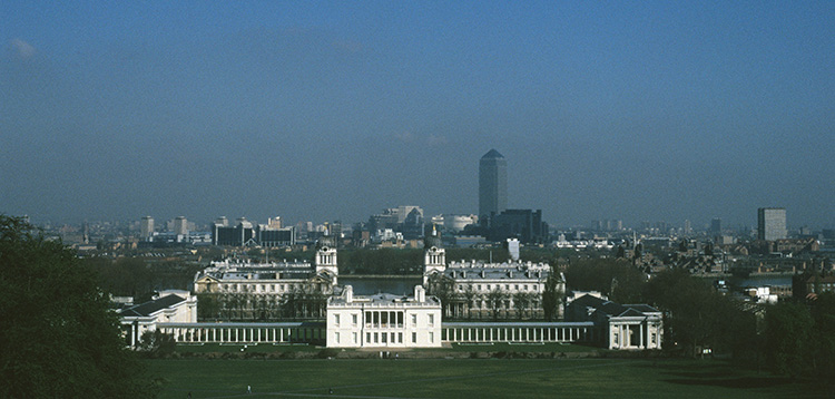 Queen's House, Royal Naval College and Canada Tower from the Wolfe Statue, Greenwich Park, 1996