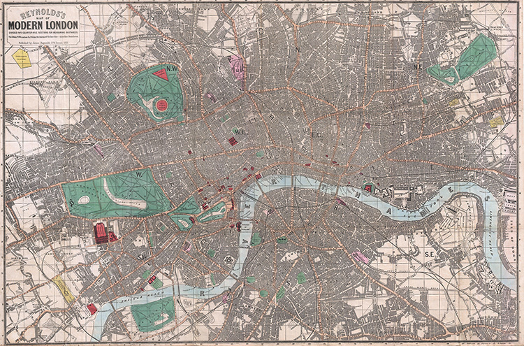 Reynolds pocket map of London, 1862