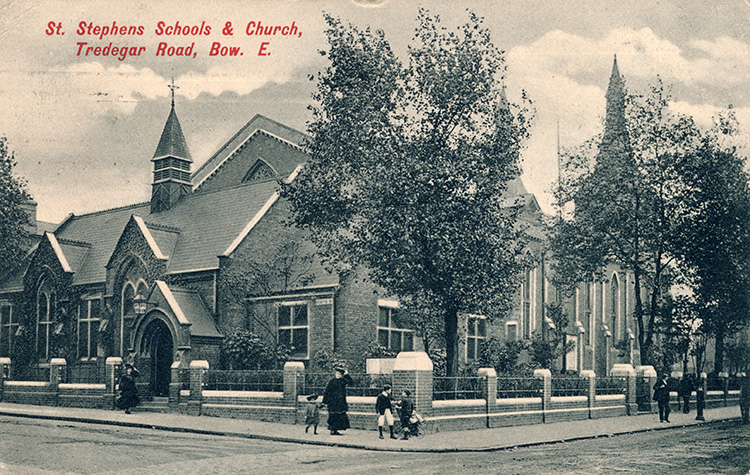 St Stephen's schools and church, Tredegar Road, Bow, 1907